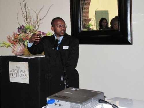 Sello Hatang at the launch of the Archival Platform