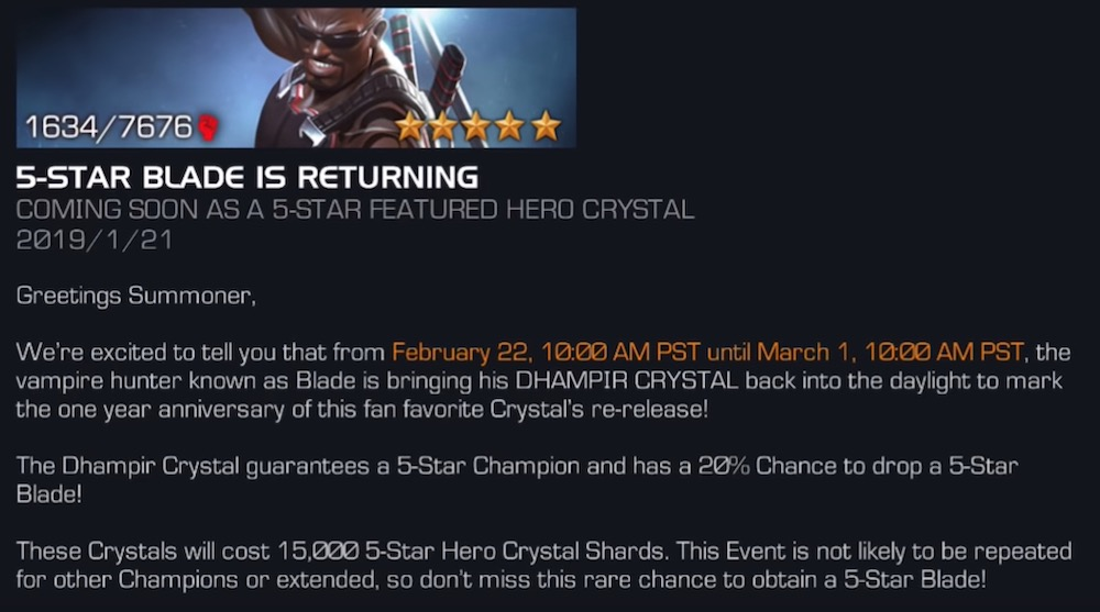 Do you want Blade? Coming to Featured Crystal in Feb 2019