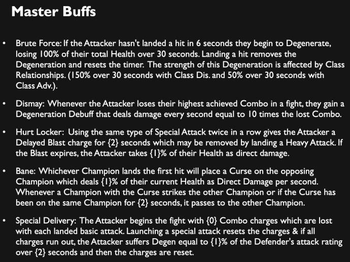 Master Buffs