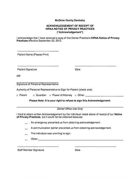 Hipaa Form. Hipaa Consent Form New Patient Dental Forms
