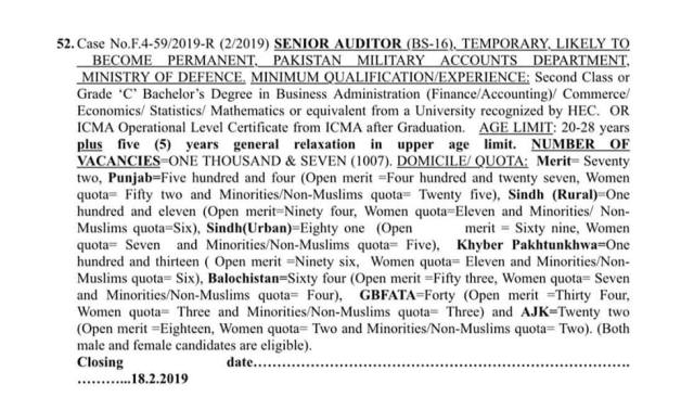 FPSC Senior Auditor Advertisement 2019