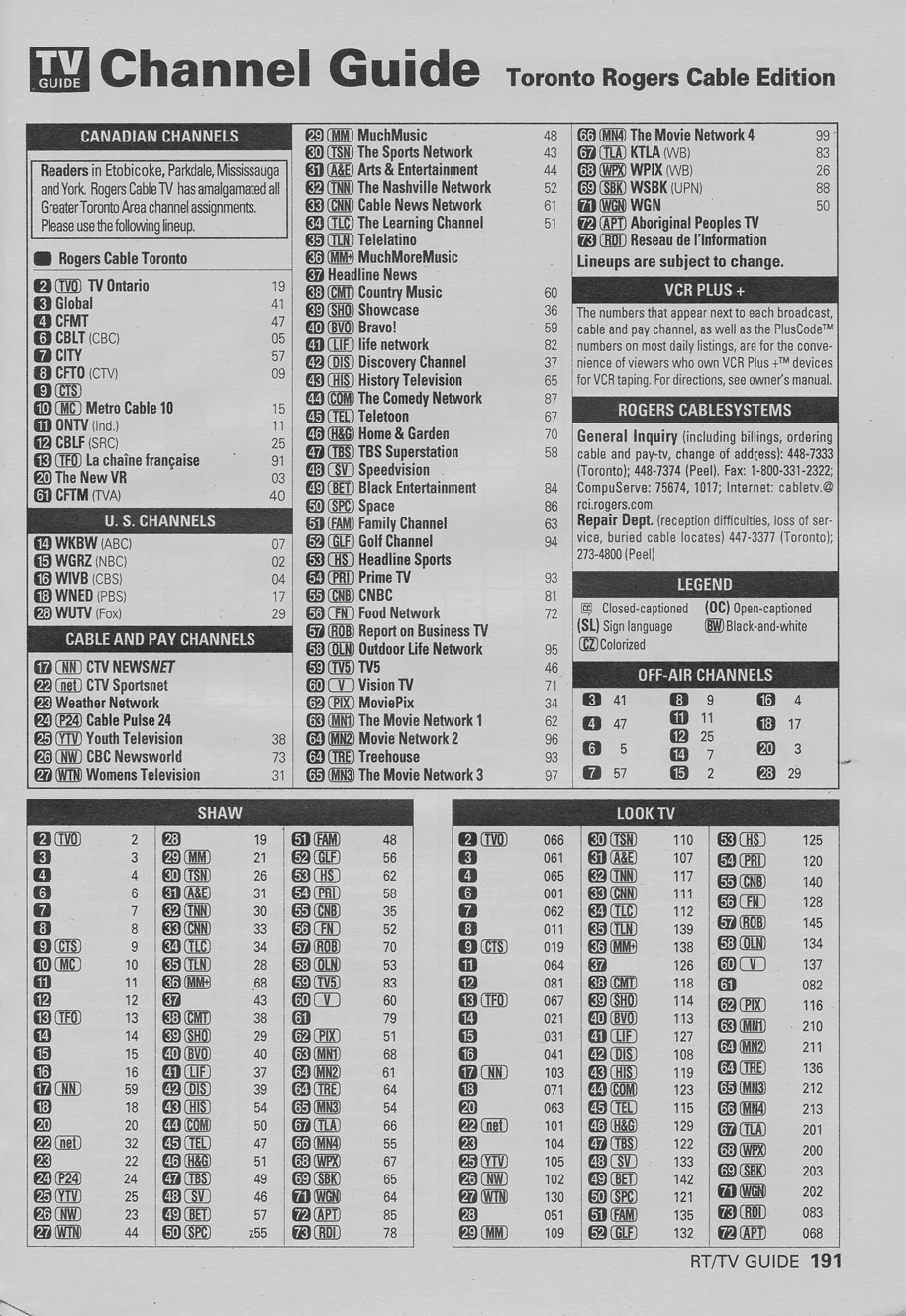 Vintage channel guide from Toronto Rogers Cable Edition of