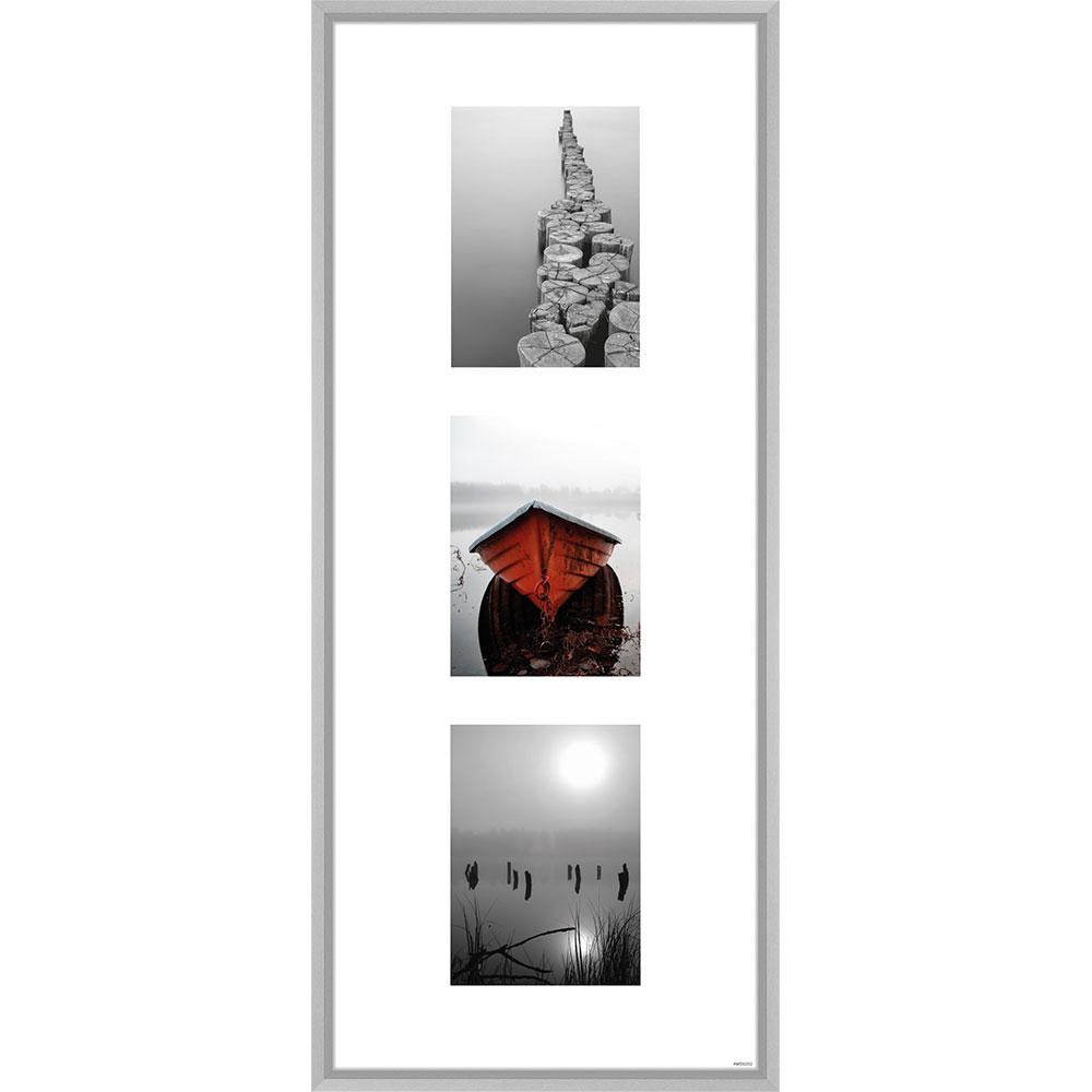 Mcrahmende Galerie Bilderrahmen Junior 3 Bilder 30x74 Cm 3x 13x18 Cm Silber Matt Normalglas Online Kaufen