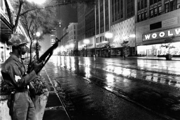 National Guard on Woodward Avenue, downtown Detroit. Detroit on curfew, under federal martial law, July 26, 1967