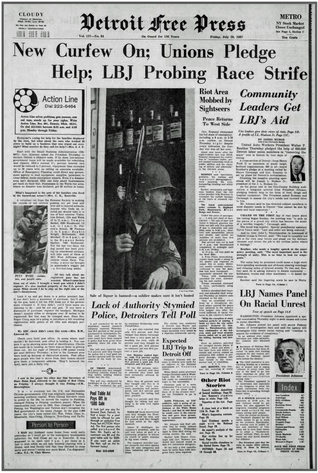 THE DETROIT FREE PRESS: Friday, July 28, 1967 (click on image 2x for largest detailed read)