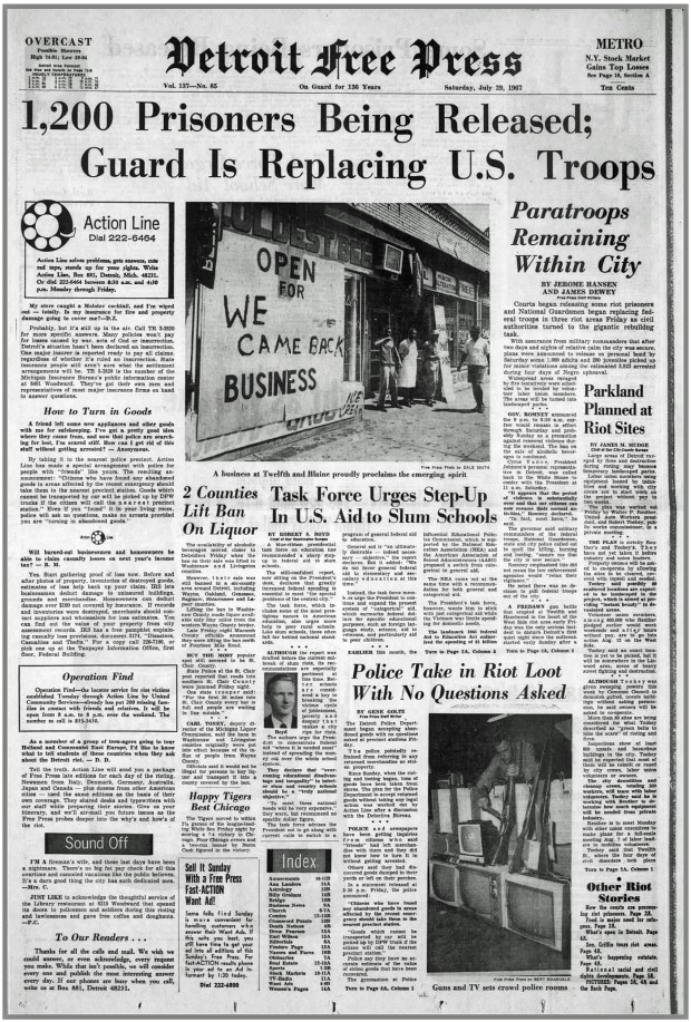 THE DETROIT FREE PRESS: Saturday, July 29, 1967 (click on image 2x for largest detailed read)