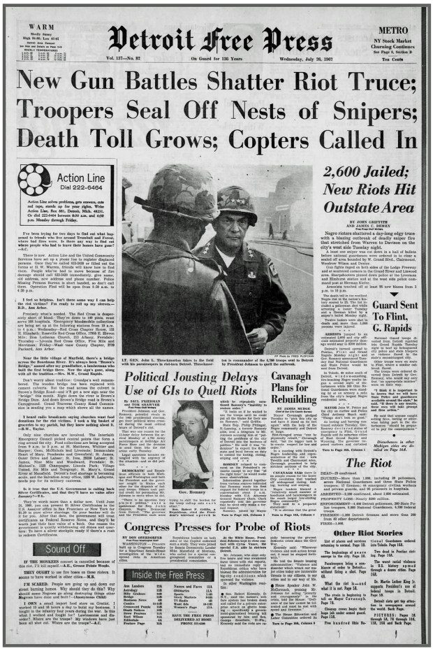 THE DETROIT FREE PRESS: Wednesday, July 26, 1967 (click on image 2x for largest detailed read)
