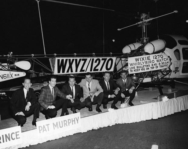 The last of the WXYZ Top 40 air-aces: Dave Prince; Danny Taylor; Pat Murphy; Jim Hampton; Lee Alan; Marc Avery, 1966. (Photo courtesy Jim Hampton)