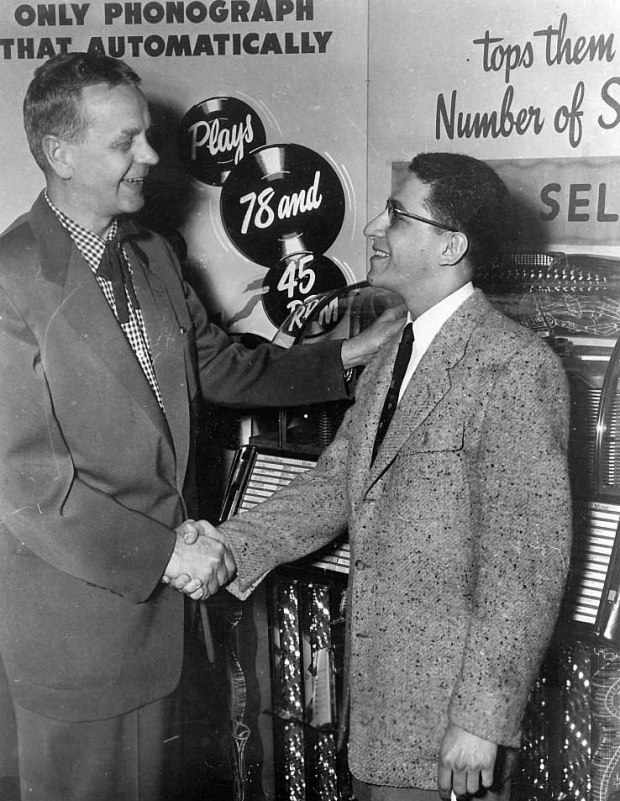 WXYZ's Ed McKenzie with his friend, WKMH's Robin Seymour in the late 1950s.