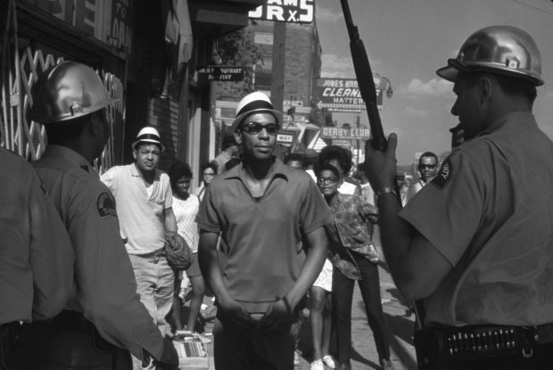 FIVE DAYS IN JULY: Wayne County sheriff officers on foot patrol near 12th and Elmhurst in Detroit. Wednesday, July 26, 1967 Photo: LIFE (click on image 2x for largest view)