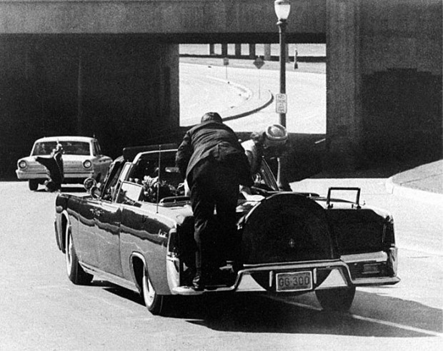 Presidential limousine under fire, Dallas, November 22, 1963.
