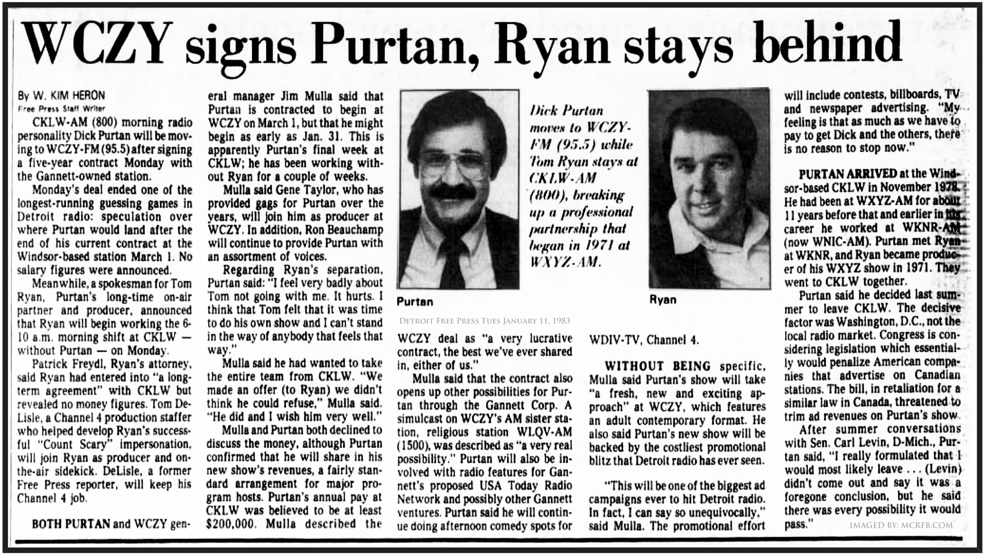 DETROIT RADIO BACK PAGES: PURTAN SIGNS ON Z95.5