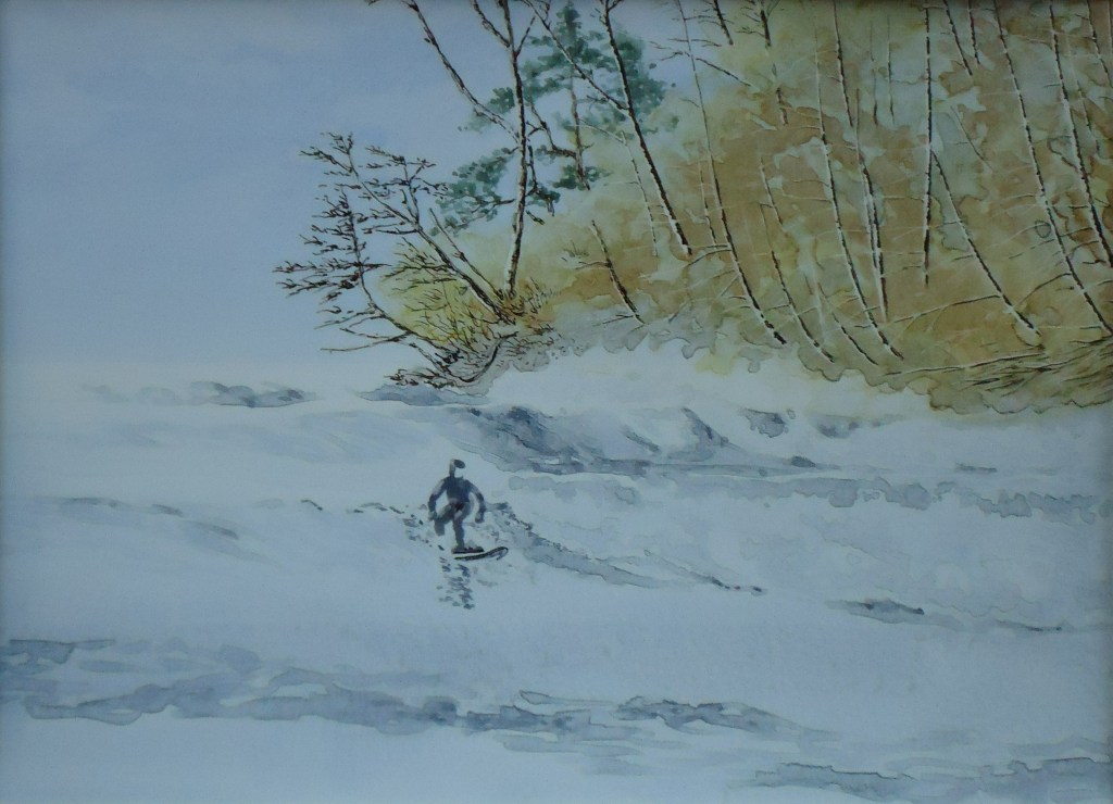 A sketch of a surfer near Jordan River by Keith Cains.