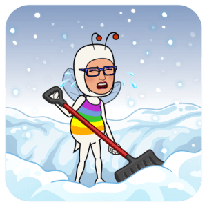 MC Fairy shoveling snow.