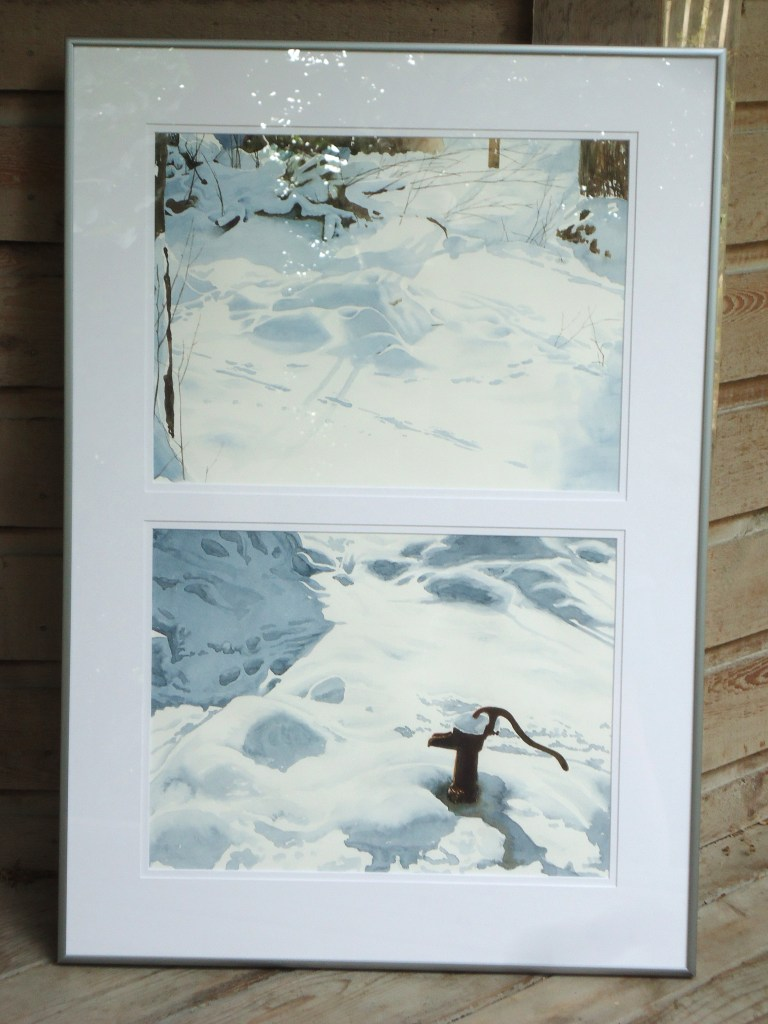 A diptych featuring watercolour paintings on a yard covered in snow by Keith Cains.