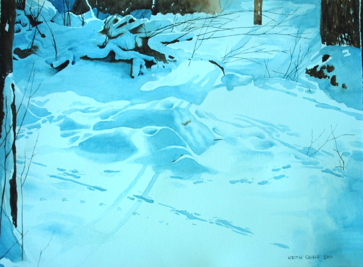 A water colour painting of a yard covered in snow by Keith Cains.