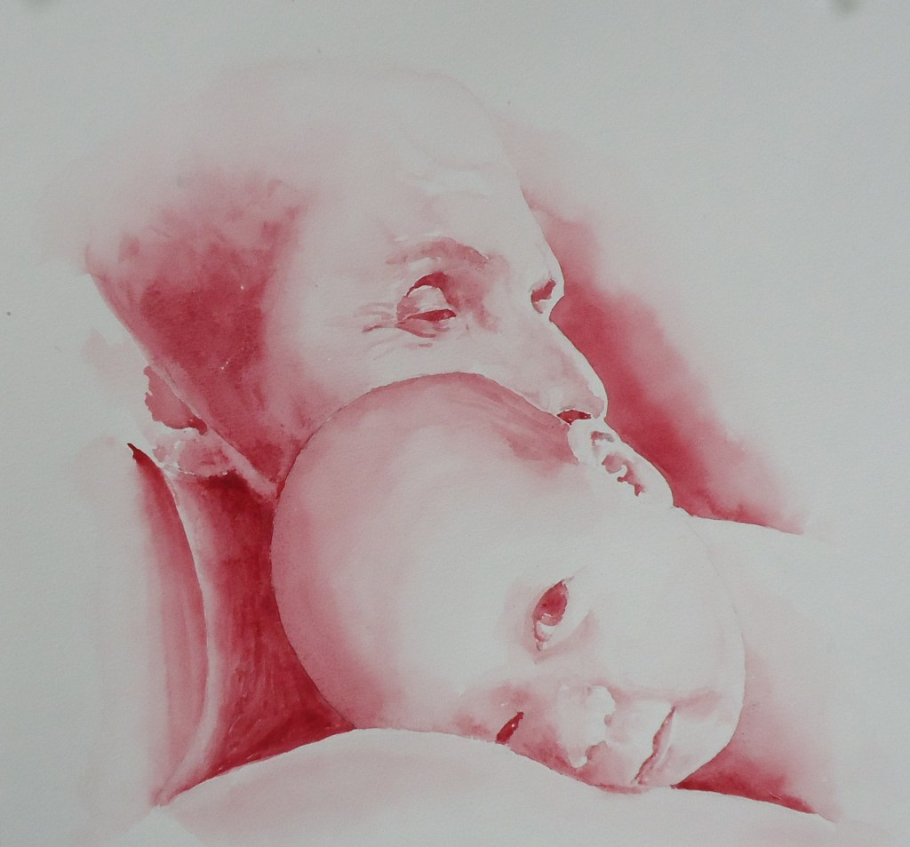 A painting of a woman holding a baby done in red watercolour by Keith Cains.