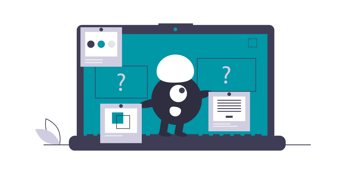 A graphic of a minion standing on a laptop holding two separate pieces of content, with question marks above both.