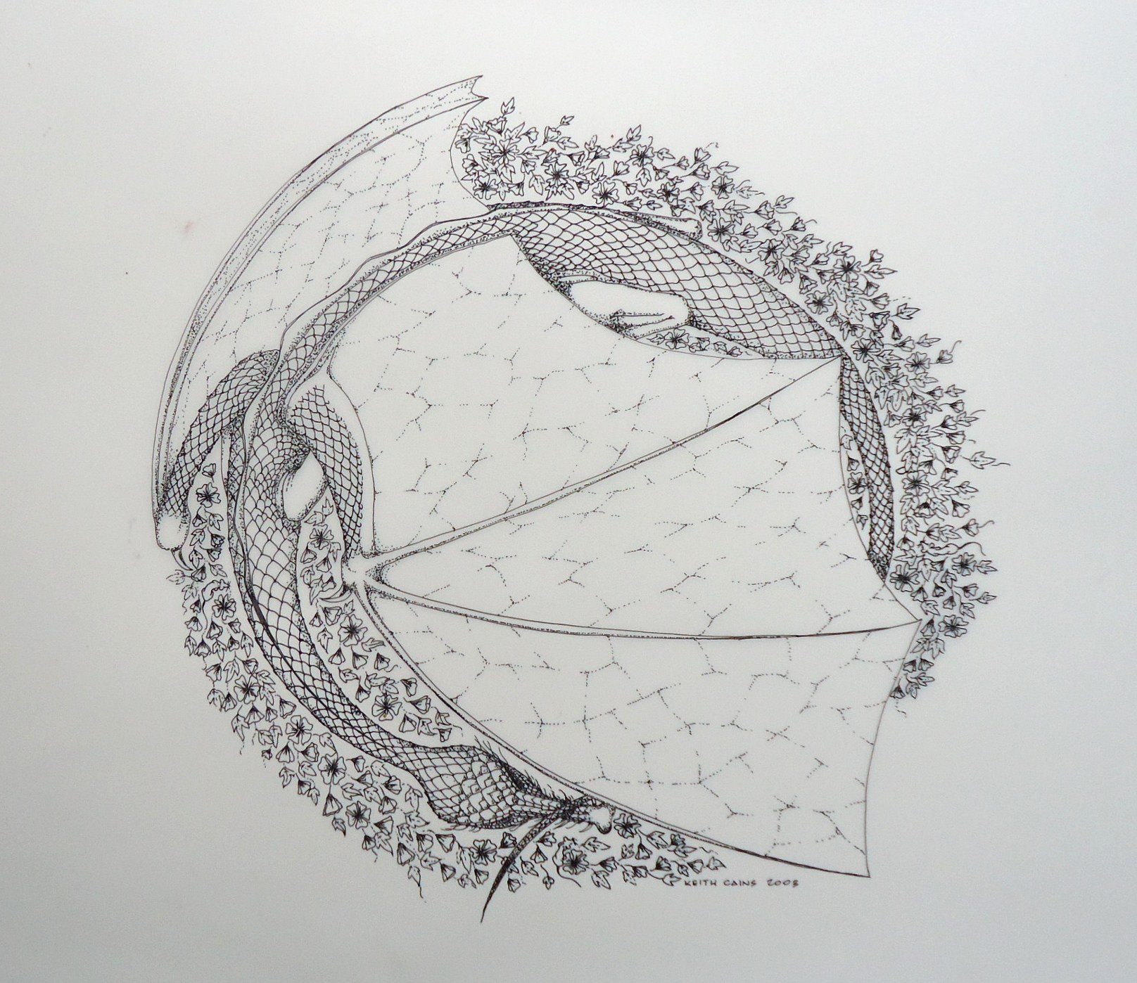 An ink on mylar drawing of a dragon surrounded by flowers by Keith Cains.