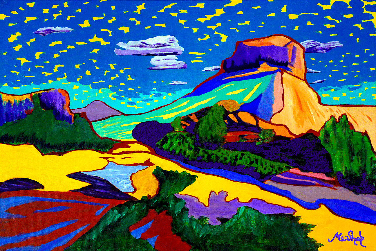 """""""Inspired,"""" take in the gentle flow of shapes and color with a sky that has its personality, captured in this new landscape of Courthouse Butte, Sedona"""