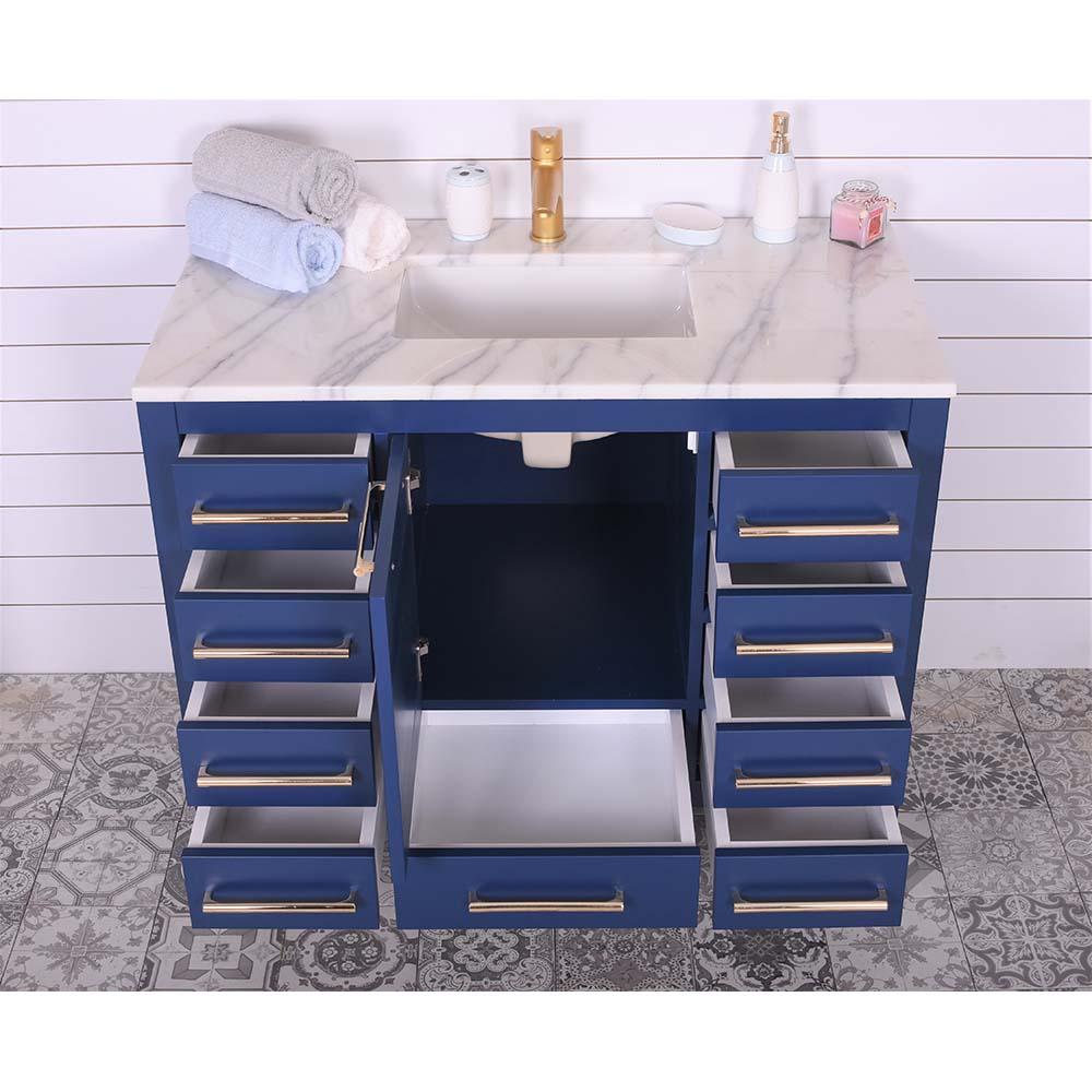 Ashley 42 Inch Navy Blue Bathroom Vanity Mcshomegoods