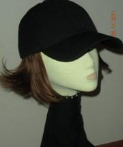 black baseball cap withhair adult