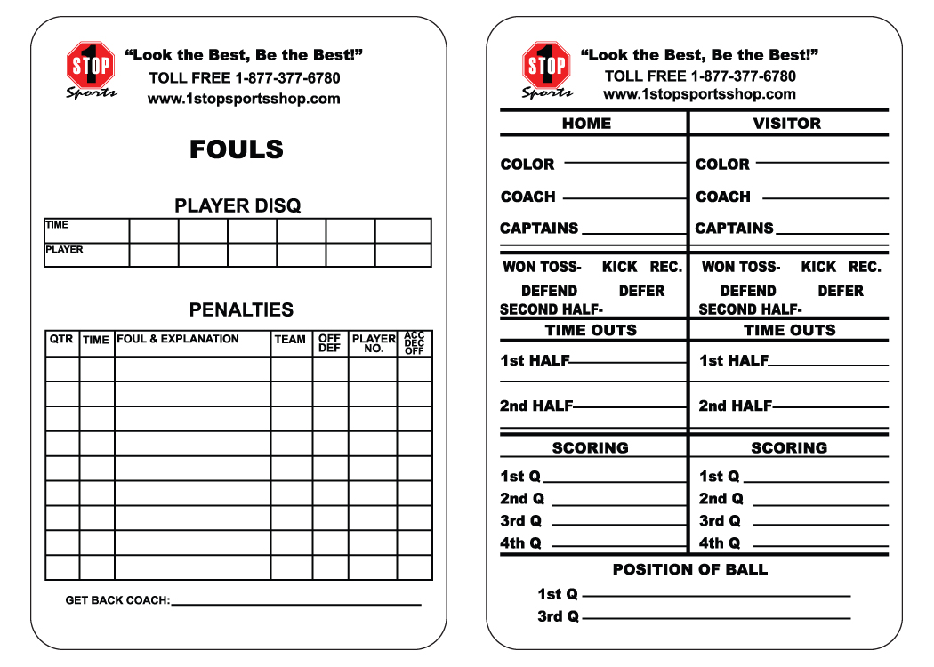 1 Stop Sports Reusable Football Game Card 1 Stop Sports