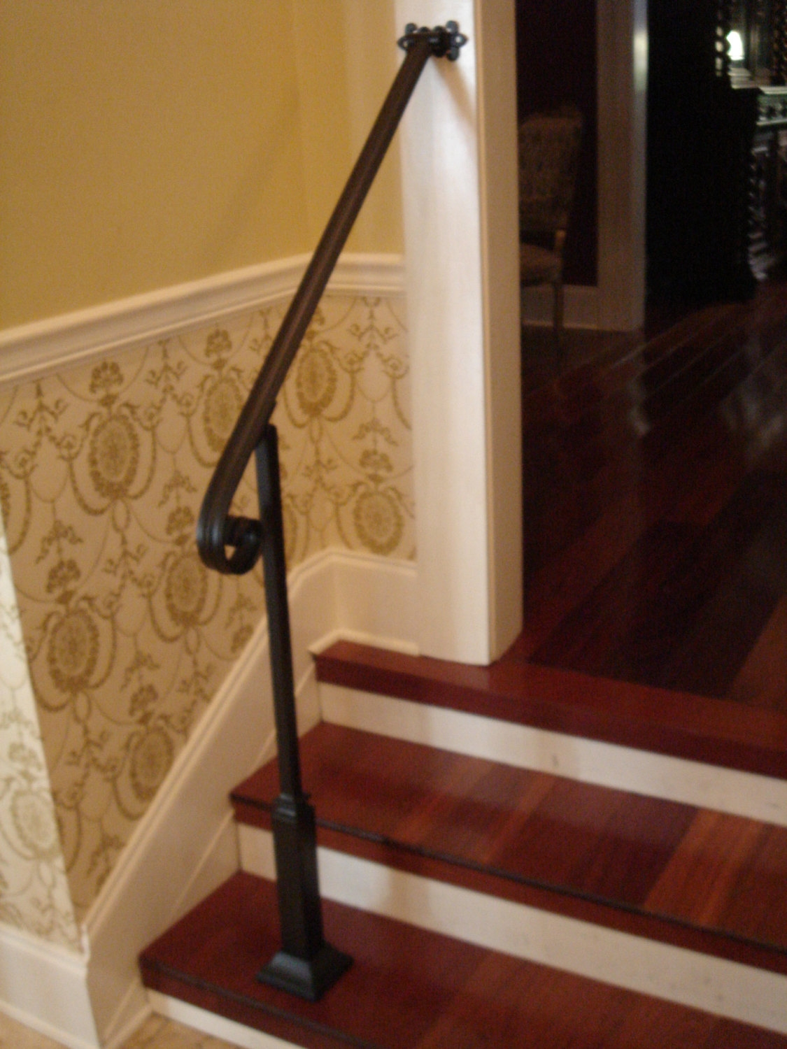 3 Ft Wrought Iron Stair Hand Rail Wall Post Mount Bracket   Wrought Iron Hand Railing For Steps