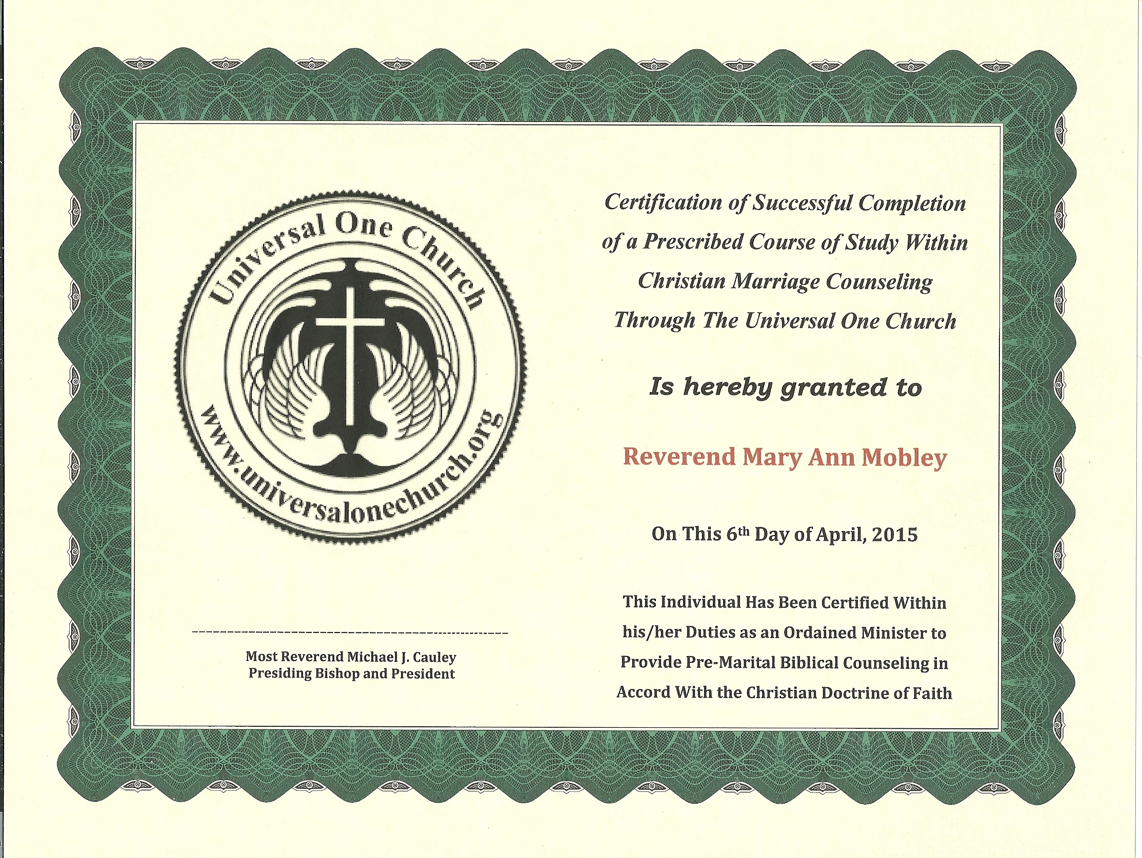 B 3 Certificate Degree Marriage Counselor