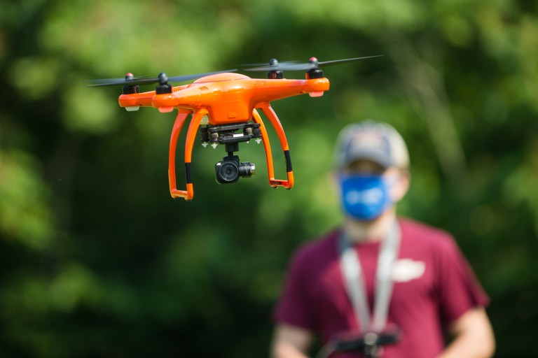 Mountwest Geospatial Science & Technology Program student Blake Cox flies a drone outside of outside of Mountwest Community & Technical College on Wednesday, Aug. 26, 2020, in Huntington. The program has been named part of the Federal Aviation Administration's a Unmanned Aircraft Systems-Collegiate Training Program Initiative.