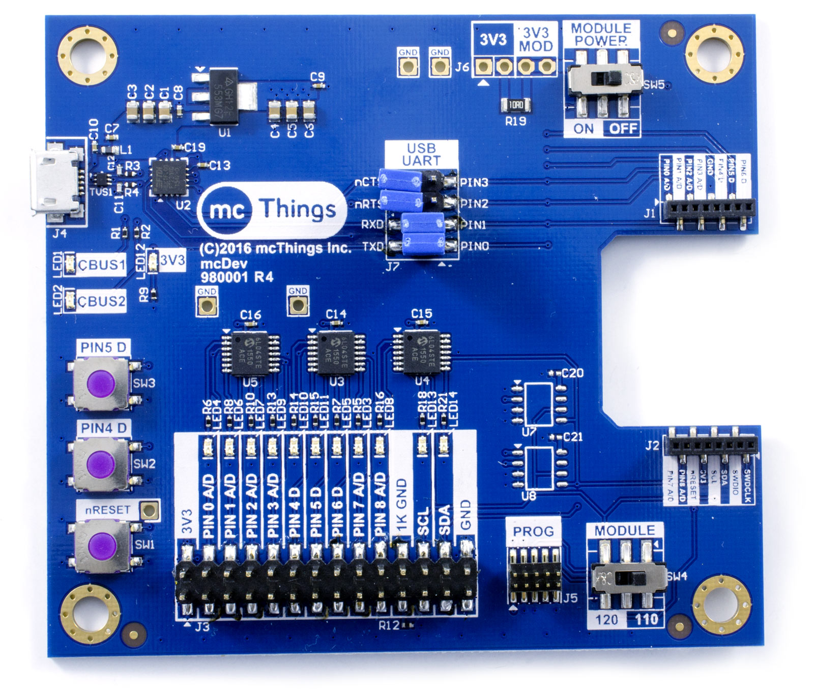 mcDev IoT Prototyping Development Board for mcModules