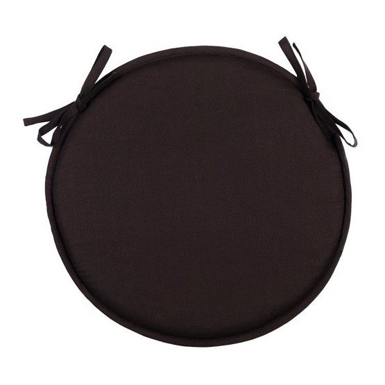 coussin de chaise rond uni noir