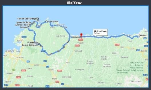 mapa ruta cabo ortegal