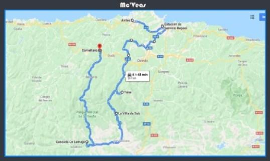 Mapa ruta a cascada de Lumajo