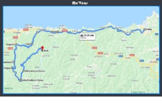mapa ruta los Oscos