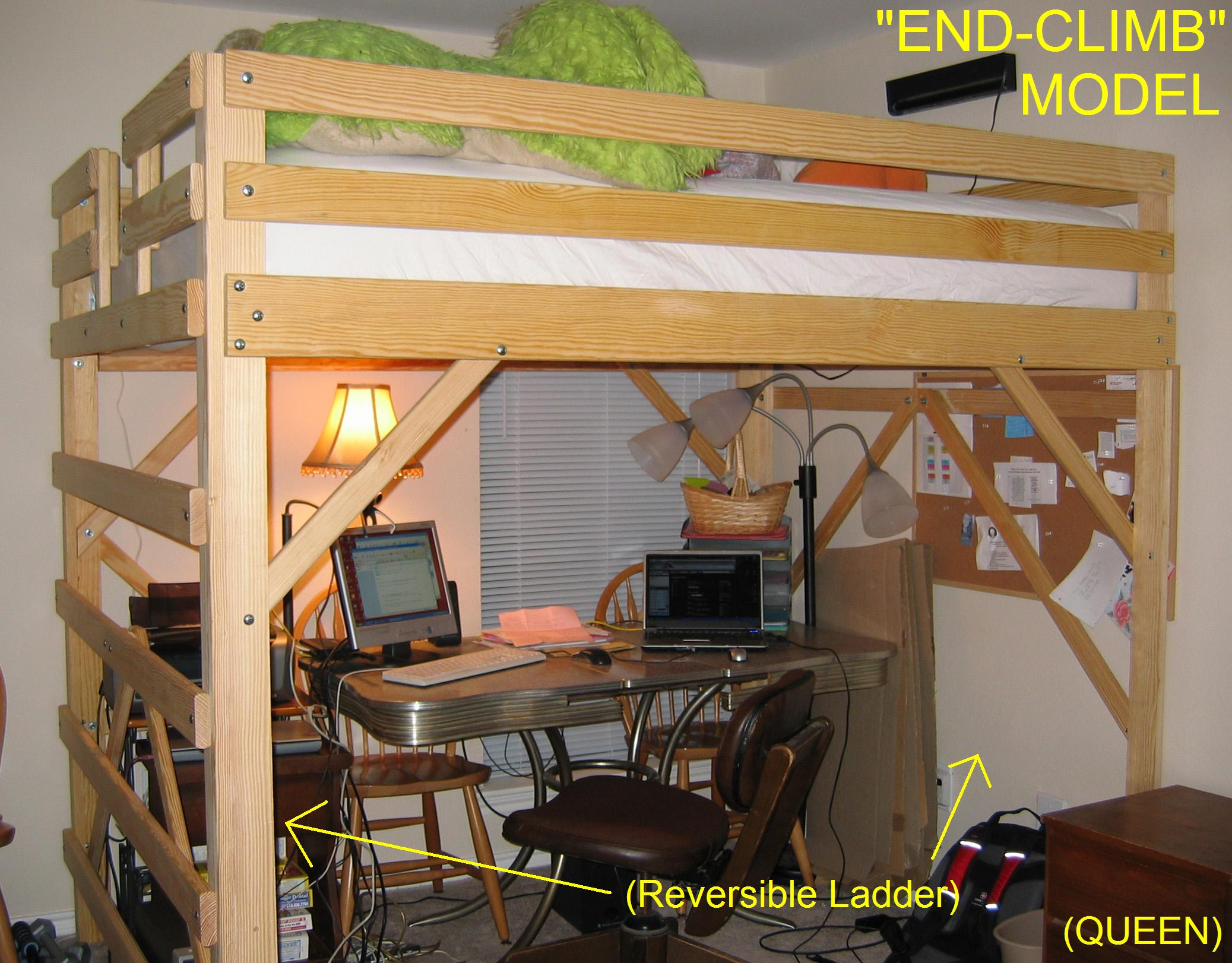How To Build Queen Size Loft Bed With Desk Plans Plans