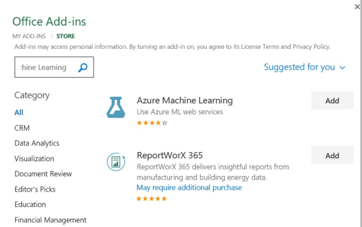 Azure-ML-Office-Addin
