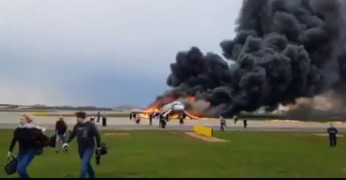 SSJ 100 flames @SVO