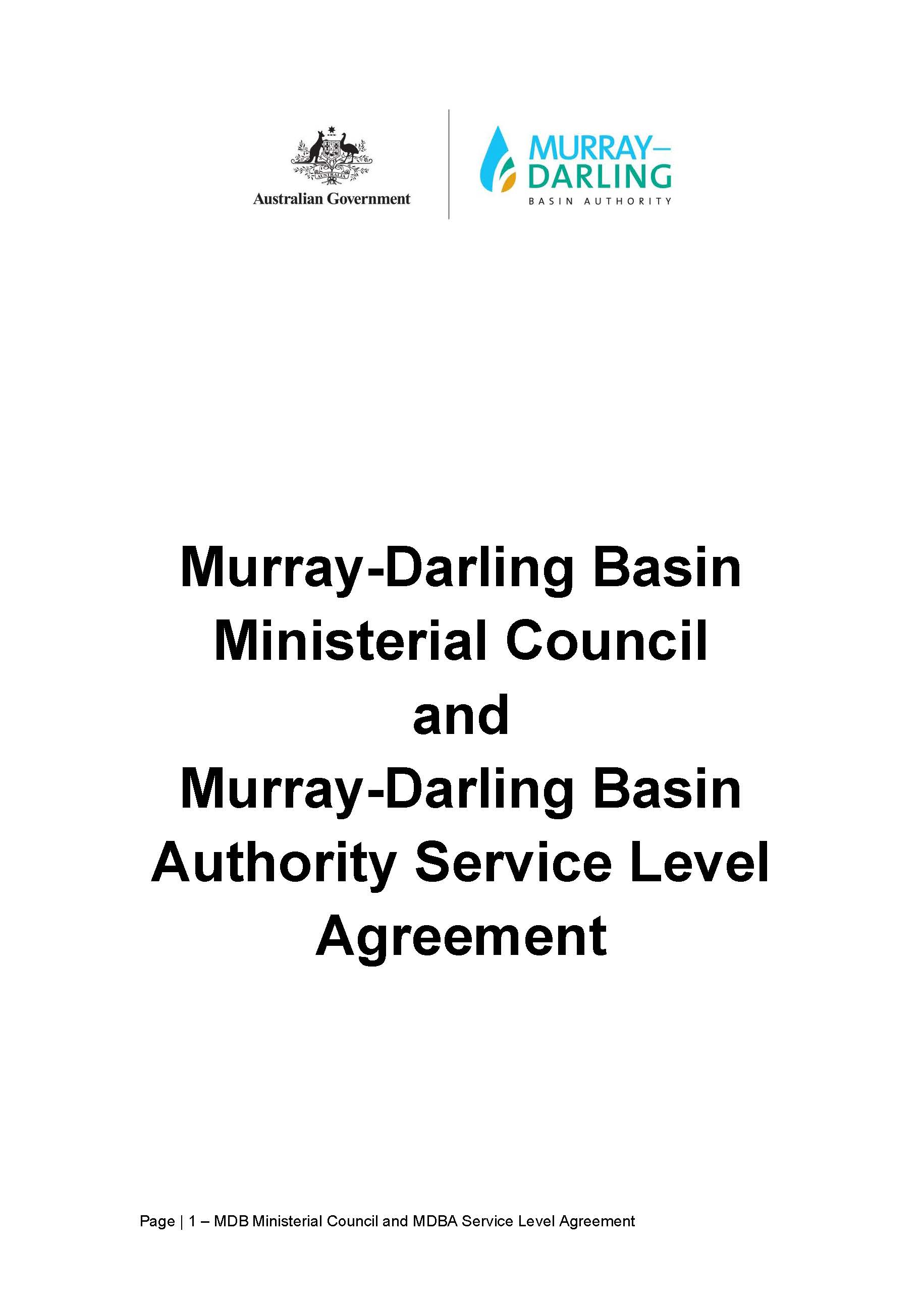 MDB Ministerial Council and MDBA Service Level Agreement