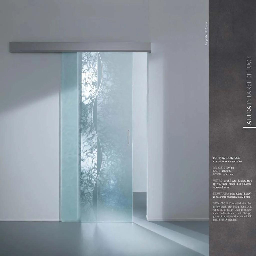 Porta scorrevole decoro Incanto vetro stratificato  MdbPortas