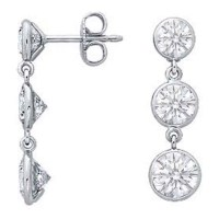 Diamond Earrings - Three Stone Graduated Drop Round ...
