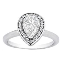 Engagement Ring -Pear Shaped Diamond Double Halo with ...