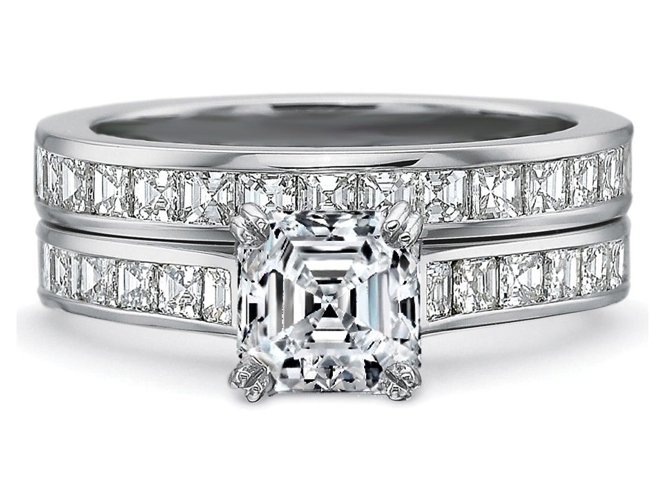 Engagement Ring Asscher Diamond Engagement Ring square Diamonds band bridal set 165tcwES900ACBS