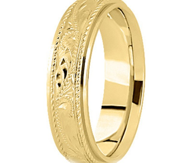 K Yellow Gold  Mm Mens Roped Engraved Wedding Band