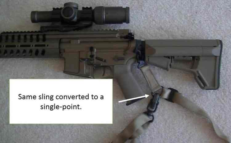 photo showing a sling converted into a single point sling