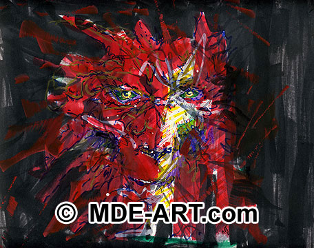Art drawing of a red dragon face