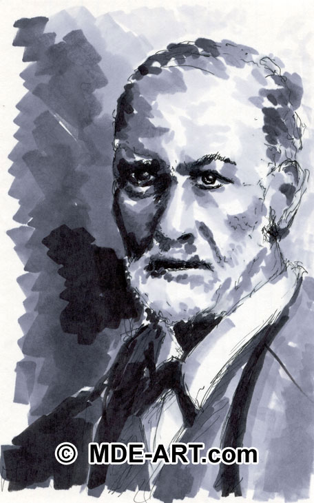 Marker Drawing of Sigmund Freud