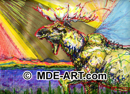 Moose drawing / painting, animal art