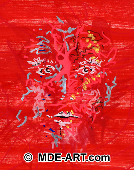 Drawing of a red, abstract astral face