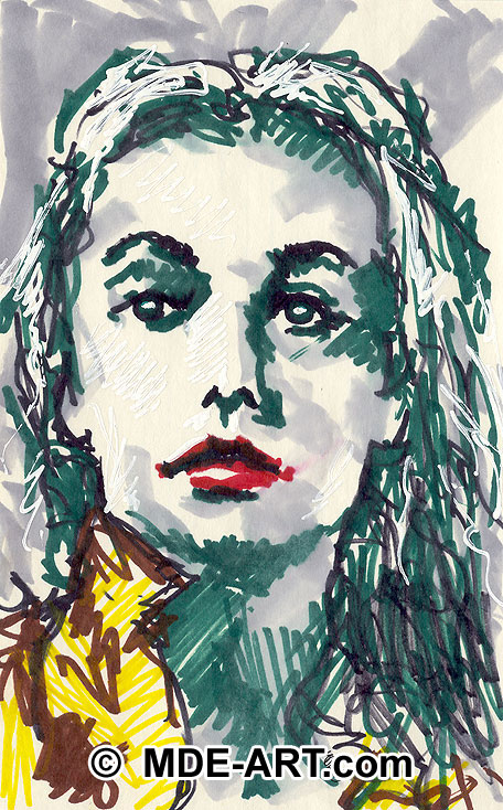 Marker Drawing of a Woman Portrait